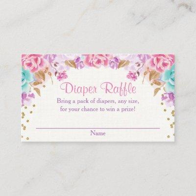 Pink gold purple teal floral diaper raffle enclosure card