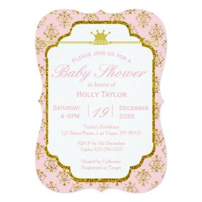 Pink Gold Royal Princess Baby Shower Invitation