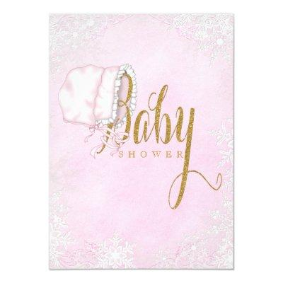 Pink Gold Snowflake Baby Girl Shower Invitations