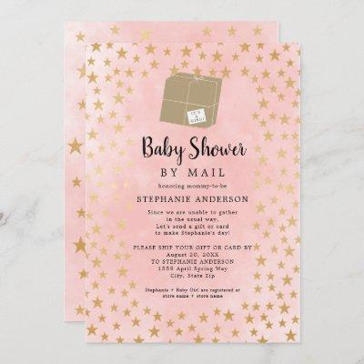 Pink Gold Star Girl Virtual Baby Shower Invitation