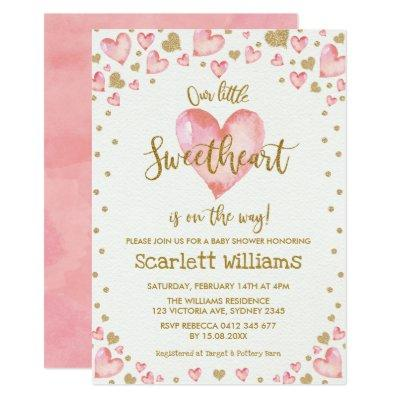 Pink Gold Sweetheart Baby Shower Invitations Hearts