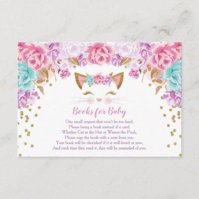 Pink gold teal floral kitty books for baby enclosure card