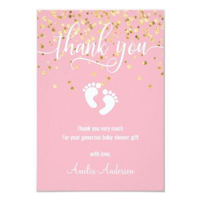 Pink Gold THANK YOU Baby Shower Girl   PHOTO Invitations