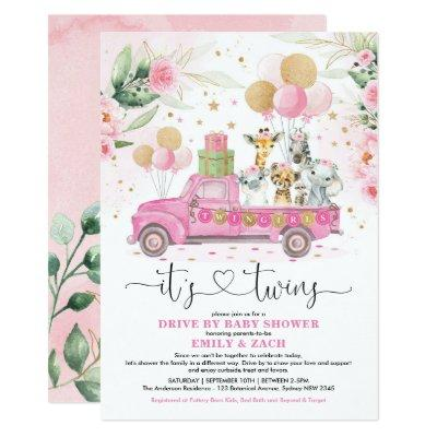 Pink Gold Twin Girls Safari Drive By Baby Shower Invitation