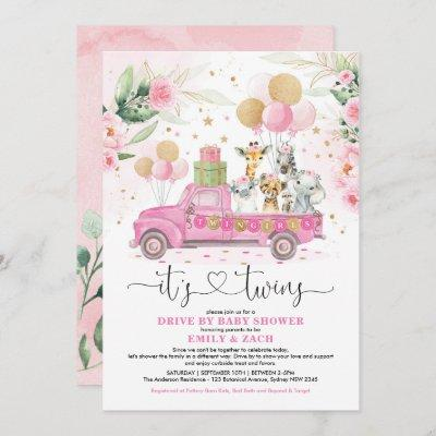 Pink Gold Twin Girls Safari Drive By Baby Shower Invitation