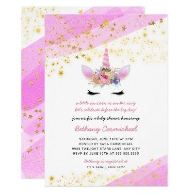 Pink Gold Unicorn Baby Shower Invitation