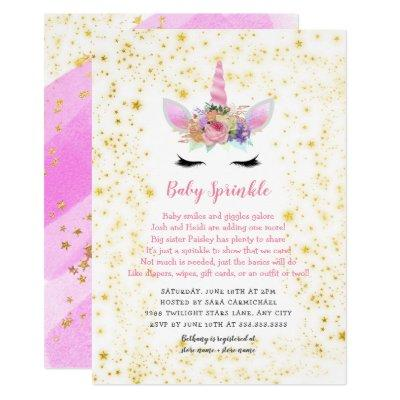 Pink Gold Unicorn Baby Sprinkle Invitations