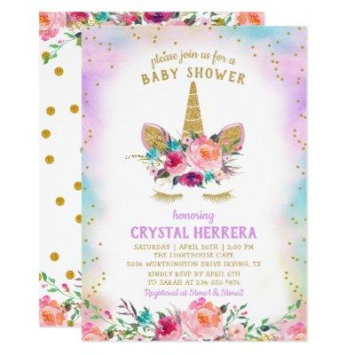 Pink & Gold Unicorn Beautiful Floral Baby Shower Invitations
