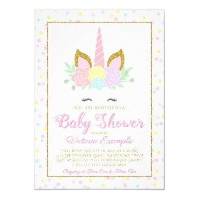 Pink Gold Unicorn Face Girl Baby Shower Invitations