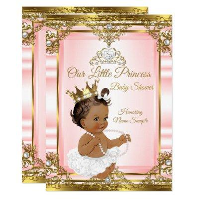 Pink Gold White Pearl Princess Baby Shower Dark 2 Invitation