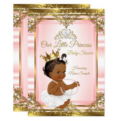 Pink Gold White Pearl Princess Baby Shower Ethnic Invitations