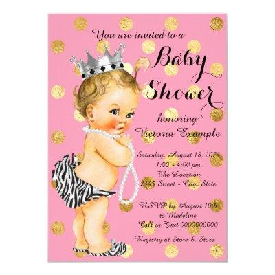 Pink Gold Zebra Pearl Baby Girl Shower Invitation