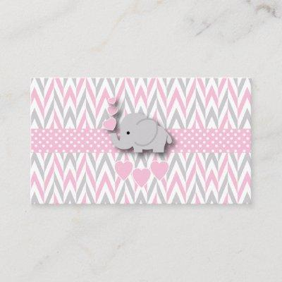 Pink Gray Elephant Baby Shower Book Request 2 Enclosure Invitations