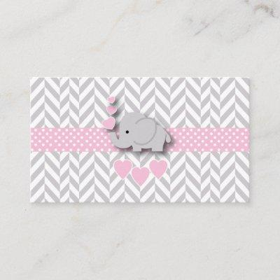 Pink Gray Elephant 🐘 Baby Shower Diaper Raffle Enclosure Card