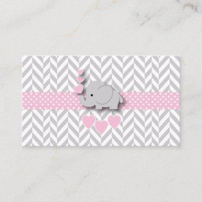 Pink Gray Elephant Baby Shower Diaper Raffle Enclosure Invitations