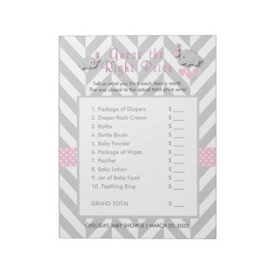 Pink & Gray Elephant Baby Shower - Guess the Price Notepad