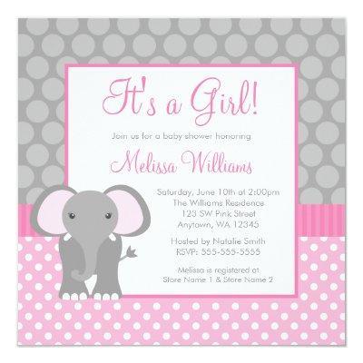 Pink Gray Elephant Polka Dot Girl