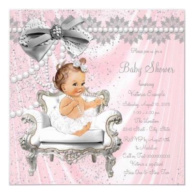 Pink Gray Satin Pearl Chair Baby Shower Invitation