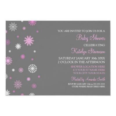 Pink Gray Snow Christmas Custom Invitations