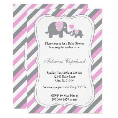 Pink & Gray Stripes Baby Elephant   Baby Shower Invitation