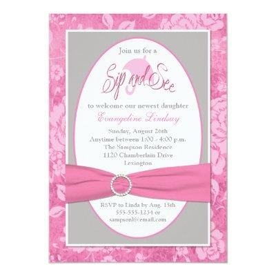 Pink Gray White Floral Sip and See Invitations