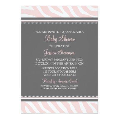 Pink Gray Zebra Custom Baby Shower Invitations