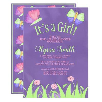 Pink Green Purple Butterflies Baby Girl Shower Invitations