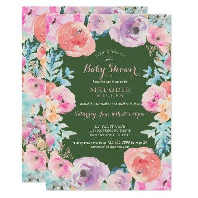 Purple flower baby girl baby shower invitations baby shower pink green vintage floral filmwisefo Image collections