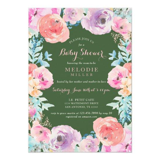 Pink Green Vintage Floral Baby Shower Invitation Baby Shower