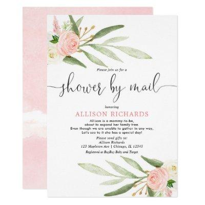 Pink greenery gold baby shower by mail girl invitation