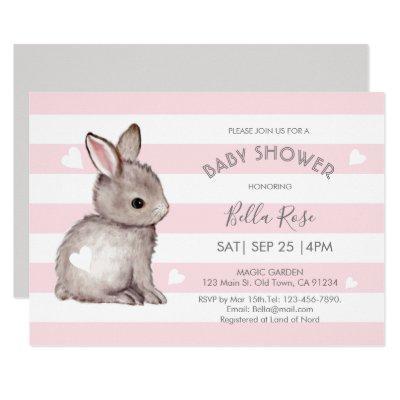 Pink Grey Stripes Bunny Heart Baby Shower Invite