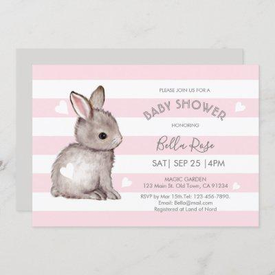 Pink Grey Stripes Bunny Heart Baby Shower Invite