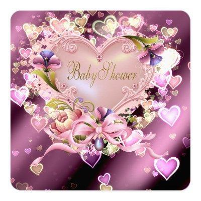 Pink Heart Damask Baby Girl Shower Invitations