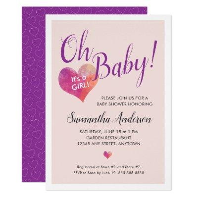 Pink Heart | Oh Baby! It's A Girl Baby Shower Invitation