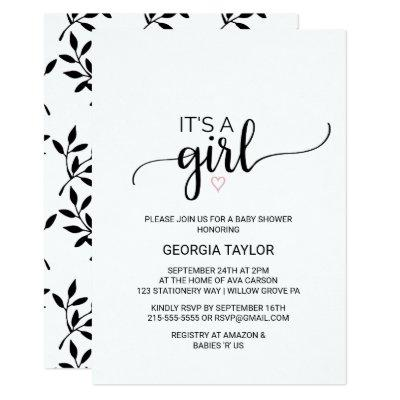Pink Heart   Simple Black Calligraphy It's A Girl Invitation