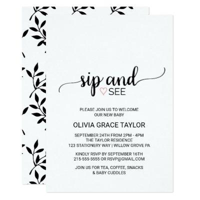 Pink Heart | Simple Black Calligraphy Sip and See Invitations
