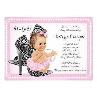Pink High Heel Shoe Tutu Pearl Invitations