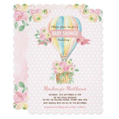 Pink Hot Air Balloon Floral Baby Girl Shower Invitation