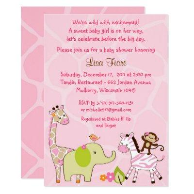 Pink Jungle Animal Baby Shower Invitation