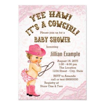 Pink Lace Cowgirl Baby Shower Invitations
