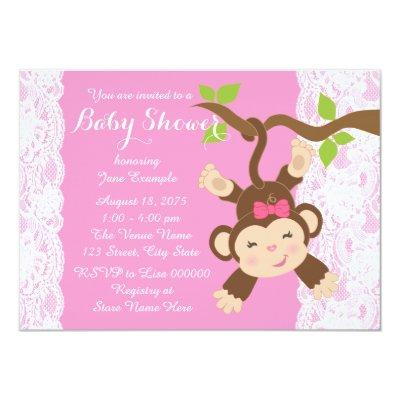 Pink Lace Monkey Baby Girl Shower Invitations