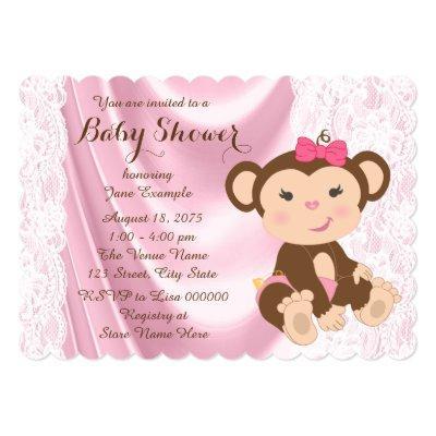Pink Lace Monkey Baby Girl Shower Invitation