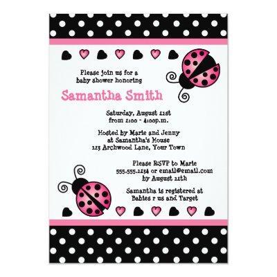 Pink Ladybug Baby Shower Black & White Polka Dots Invitations