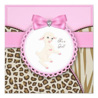 Pink Lamb Baby Shower Invitation