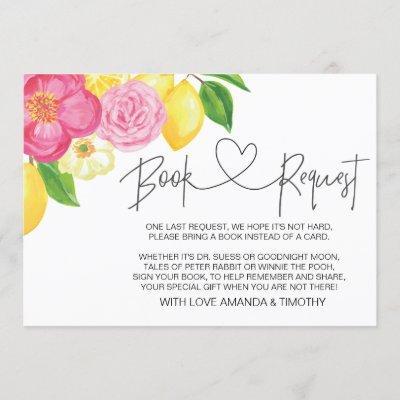 Pink Lemon Floral Baby Shower Book Request Cards