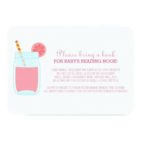Pink Lemonade Baby Shower Book Request Enclosure Card Baby Shower Invitations