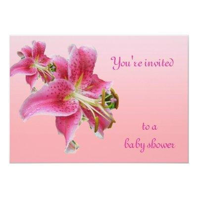 Pink Lily Baby Shower Floral Invitations