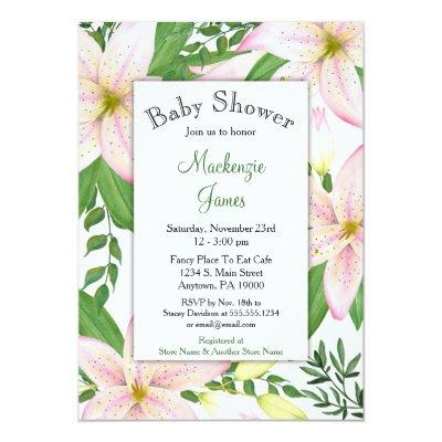 Pink lily baby shower invitations baby shower invitations baby pink lily floral girls filmwisefo