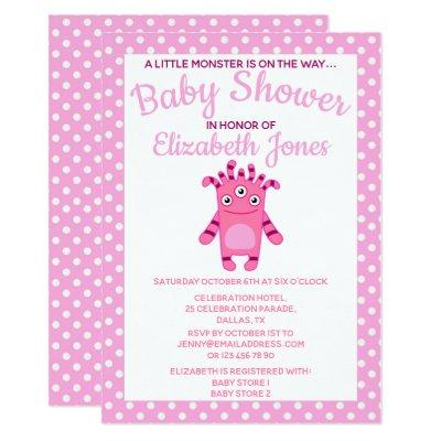 Pink Little Monster Baby Shower Invitation
