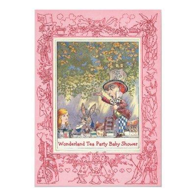 Pink Mad Hatter's Wonderland Tea Party Baby Shower Invitation